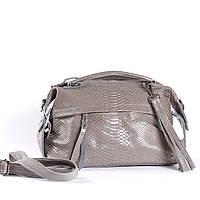 """Женская кожаная сумка-саквояж серая """"Аглая Light Gray"""", фото 1"""