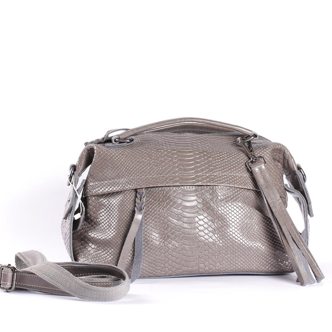 "Женская кожаная сумка-саквояж серая ""Аглая Light Gray"""