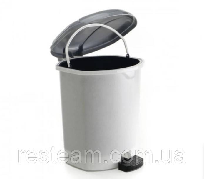 Ведро с педалью пластик  9 л  мрамор