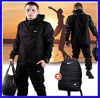 Куртка мужская Nike с капюшоном, стильная спортивная ветровка, куртка анорак черная, фото 1