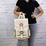 Рюкзак женский graf бежевый из эко кожи, фото 7