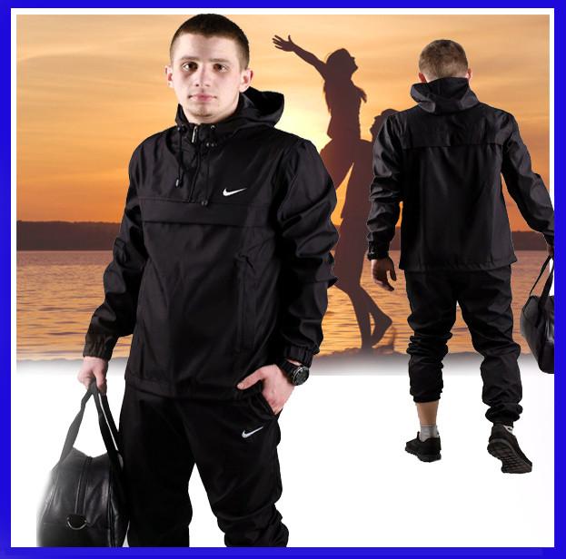 Куртка мужская Nike с капюшоном, стильная спортивная ветровка, куртка анорак черная