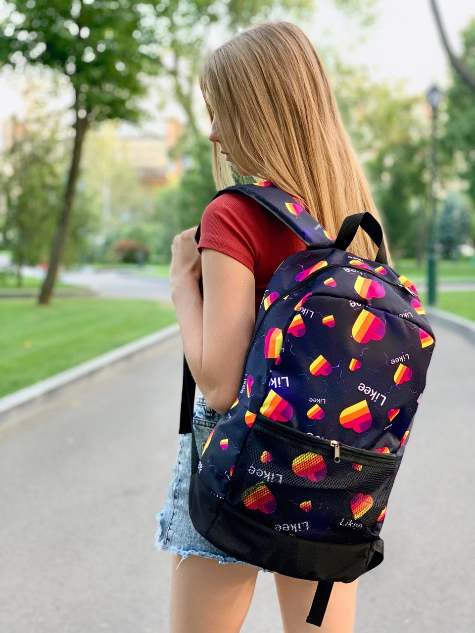 Городской стильный молодежный рюкзак с принтом Likee темно-синий