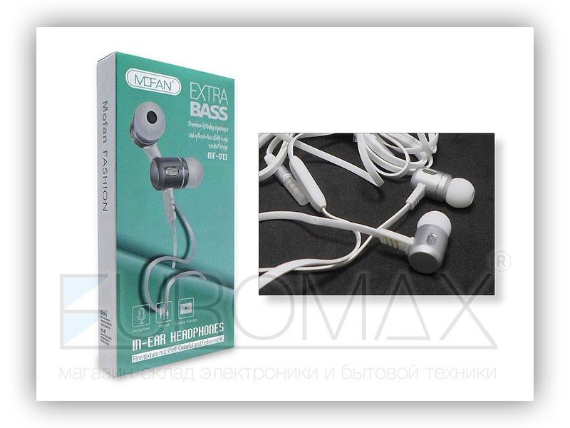 Наушники вакуумные с микрофоном металл MOFAN 240шт MF-013