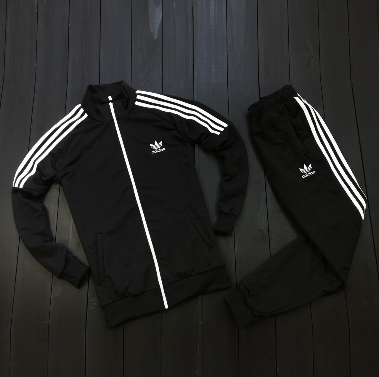 Спортивный костюм мужской стильный с лампасами адидас (adidas), (черный). Реплика