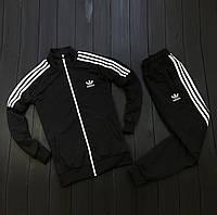 Спортивный костюм мужской стильный с лампасами адидас (adidas), (черный). Реплика, фото 1