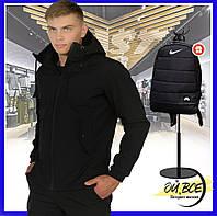 Куртка мужская Soft Shell с капюшоном, молодежная стильная демисезонная ветровка + подарок, фото 1