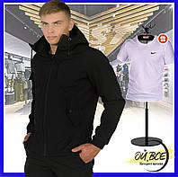 Куртка мужская Soft Shell с капюшоном, демисезонная ветровка + подарок., фото 1