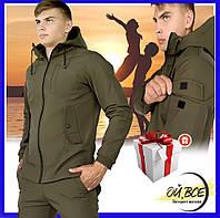 Куртка мужская демисезонная Soft Shell с капюшоном, молодежная стильная ветровка, цвет хаки + подарок, фото 1