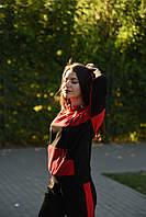 Худи женский с принтом цвет красный с черным