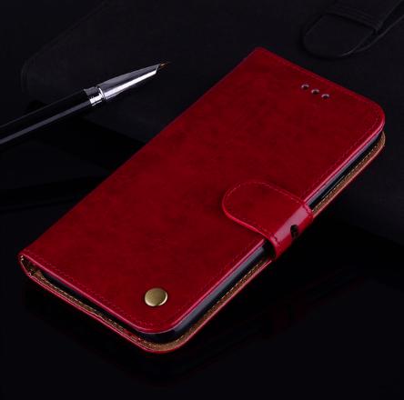 Чехол - книжка для Xiaomi Redmi Note 9s / 9 Pro с силиконовым бампером и отделением для карт Цвет Красный