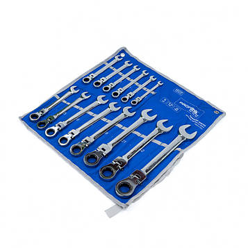 Набор комбинированных трещоточных ключей с карданом 14 ед. 8-24 мм Profline 60239