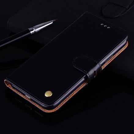 Чехол-книжка Xiaomi Redmi 9 с силиконовым бампером и отделением для карточек Цвет Чёрный