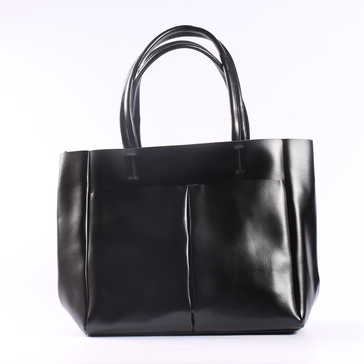 """Кожаная женская вместительная сумка-шоппер черная """"Аурика 2 Black"""""""