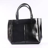 """Кожаная женская вместительная сумка-шоппер черная """"Аурика 2 Black"""", фото 1"""