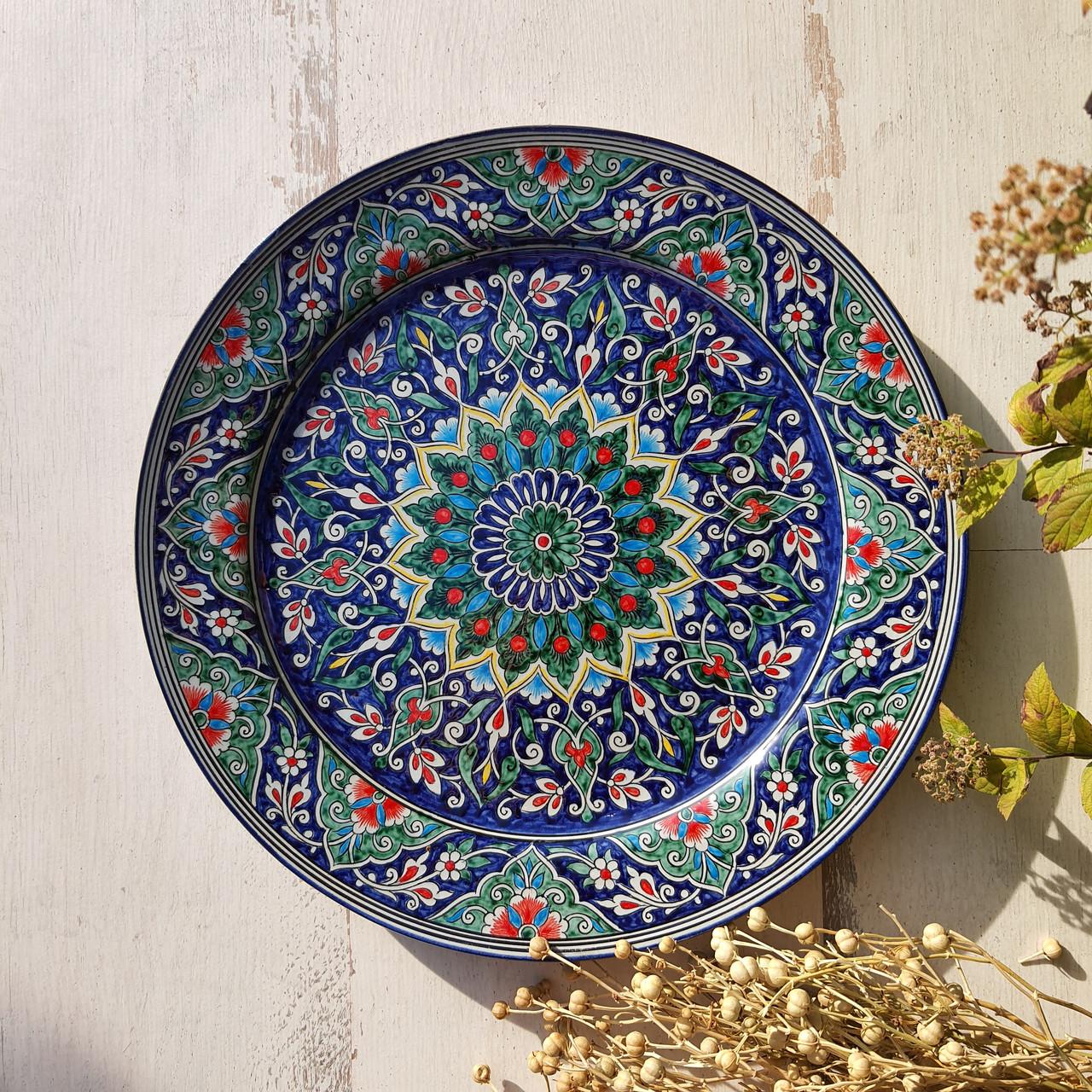 Тарелка плоская d 32 см ручной работы. Узбекистан (141)