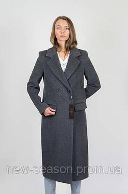 Пальто шерстяное длинное ELVI Д-823 антрацит