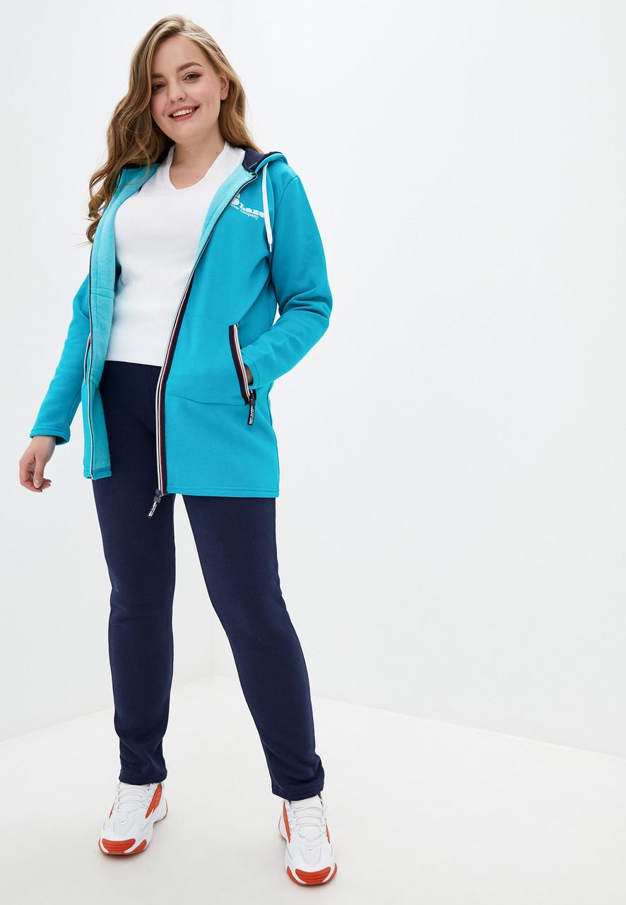 Жіночий теплий трикотажний костюм великих розмірів з подовженою курткою сезон зима