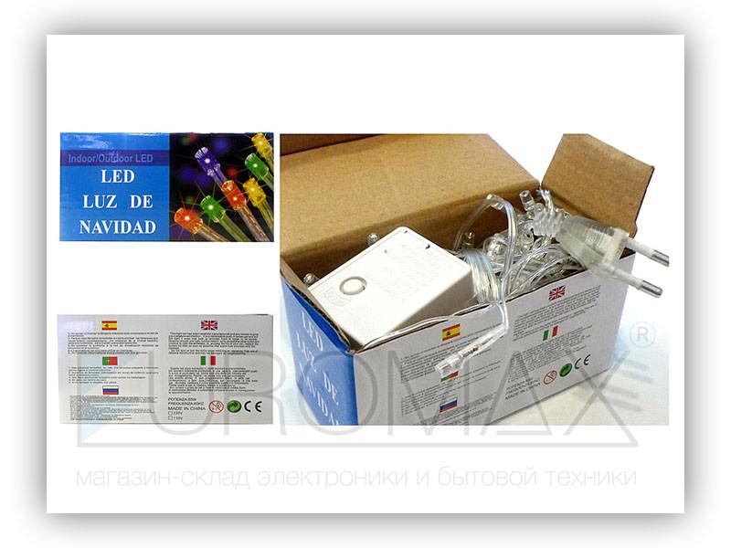Гирлянда прозрачный провод 100LED (синий) 100шт LED100B-1