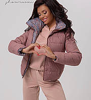 Женская двусторонняя куртка с высоким дутым воротником