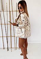 Женская ультрамодная двусторонняя куртка из плащёвки фольга
