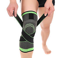 Фиксатор для коленного сустава чёрно - салатовый, компрессионный эластичный наколенник для спорта (ST)
