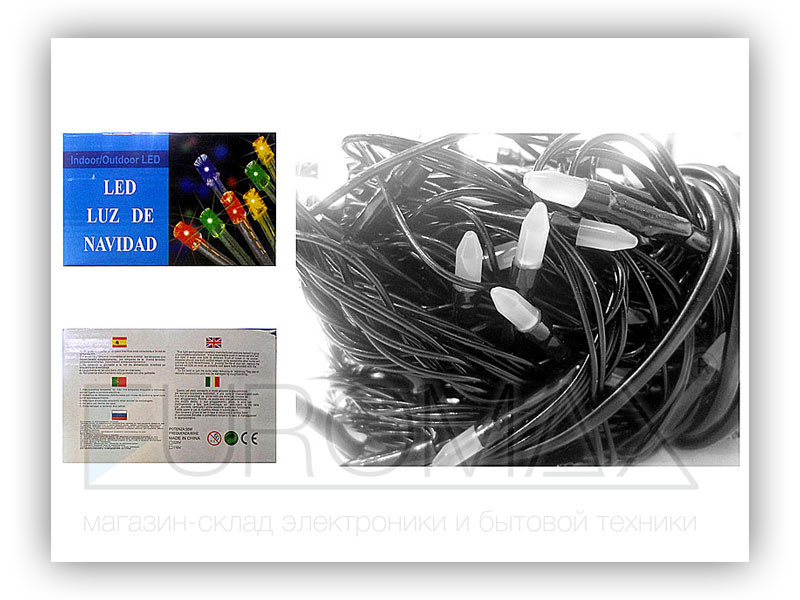 Гирлянда черный провод матовая лампа 200LED (микс) 80шт LED200M-3