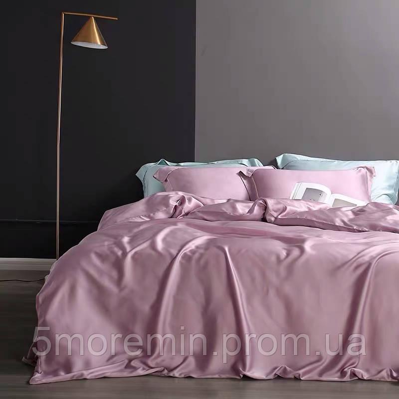 Постельное белье Роскошный Тенсел. Цвет Розовый Жемчуг. 100% тенсел. Евро размер