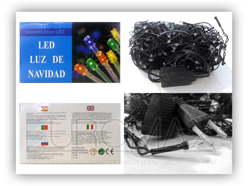 Гирлянда Дождик черный провод прозрачная коническая лампа 5м 240LED (микс) 50шт 240-SHORT-CURTAIN-5M-M
