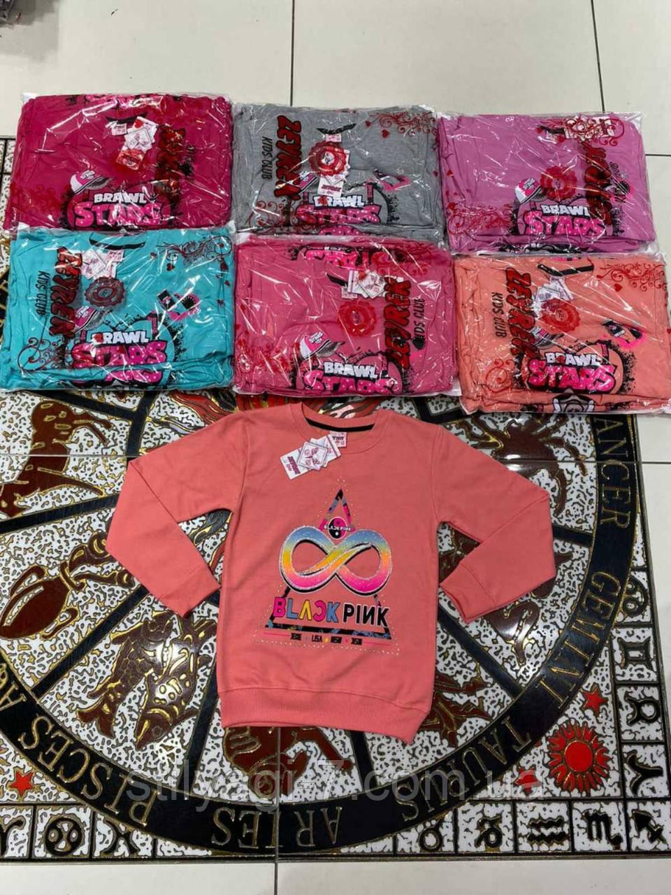 Батник для девочки на 8-12 лет бирюзового, красного, персикового, серого, розового цвета оптом
