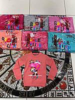 Батник для девочки на 4-8 лет голубого, красного, персикового, серого, розового цвета оптом