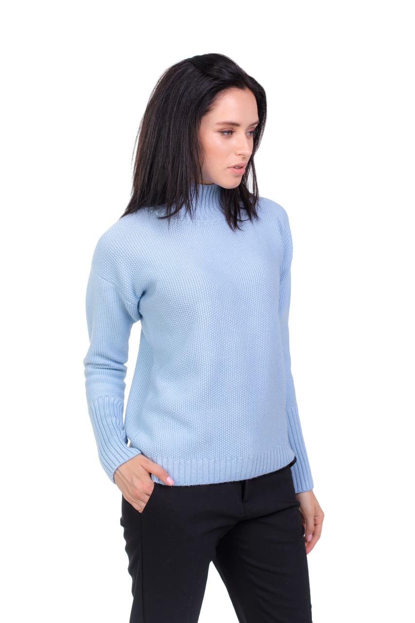Модный теплый свитер с горлом голубой 46, 48 50 52 размеры