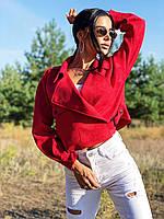 Женская замшевая куртка - косуха на запах (р. 42-48) k4KU332, фото 1