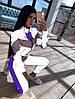 Женский спортивный костюм из плащевки со светоотражающими вставками 66SP1057Е