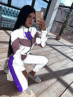 Женский спортивный костюм из плащевки со светоотражающими вставками 66SP1057Е, фото 1