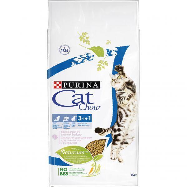 Cat Chow  3in1 с индейкой 15кг - сухой корм для взрослых кошек с формулой тройного действия