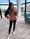 Женский костюм - леггинсы черные и принтованное свободное теплое худи 66ks1129Е, фото 3
