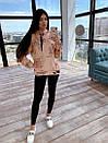 Женский костюм - леггинсы черные и принтованное свободное теплое худи 66ks1129Е, фото 4