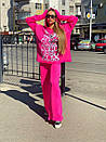 Женский повседневный костюм с вышивкой на груди и капюшоном (р. 40-54) 18ks132, фото 4