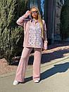 Женский повседневный костюм с вышивкой на груди и капюшоном (р. 40-54) 18ks132, фото 6