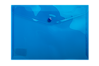 $Папкаконверт на кнопке А5 глянцевый прозрачный пластик синяя