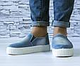 Слипоны джинсовые женские на высокой подошве с прорезями и резинками, фото 7