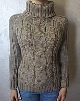 Женский светло-коричневый (мокко) вязаный свитер с косами зимняя кофта размер 46 свитеры и кардиганы женские