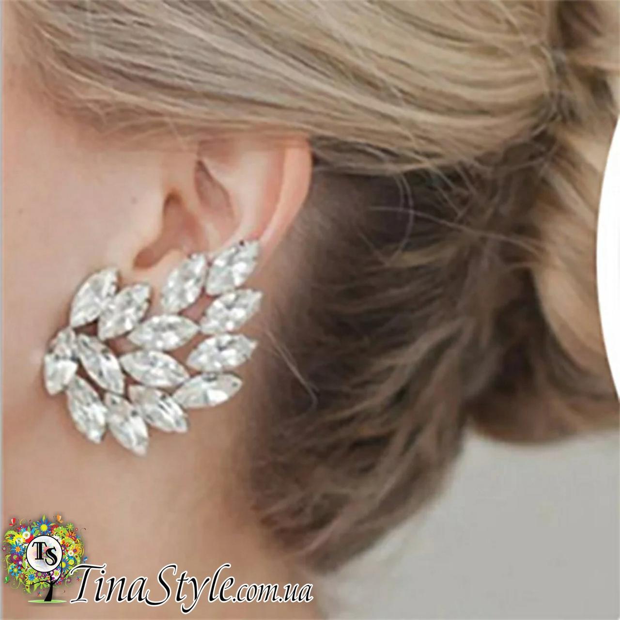 Кафф на вухо кристал квітка Earcuff Кліп каф сережки ШИК ХІТ Кліпс