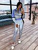 Спортивний костюм жіночий з світловідбиваючої тканини з укороченим худі р. 42 і 44 66rt1056Е, фото 2