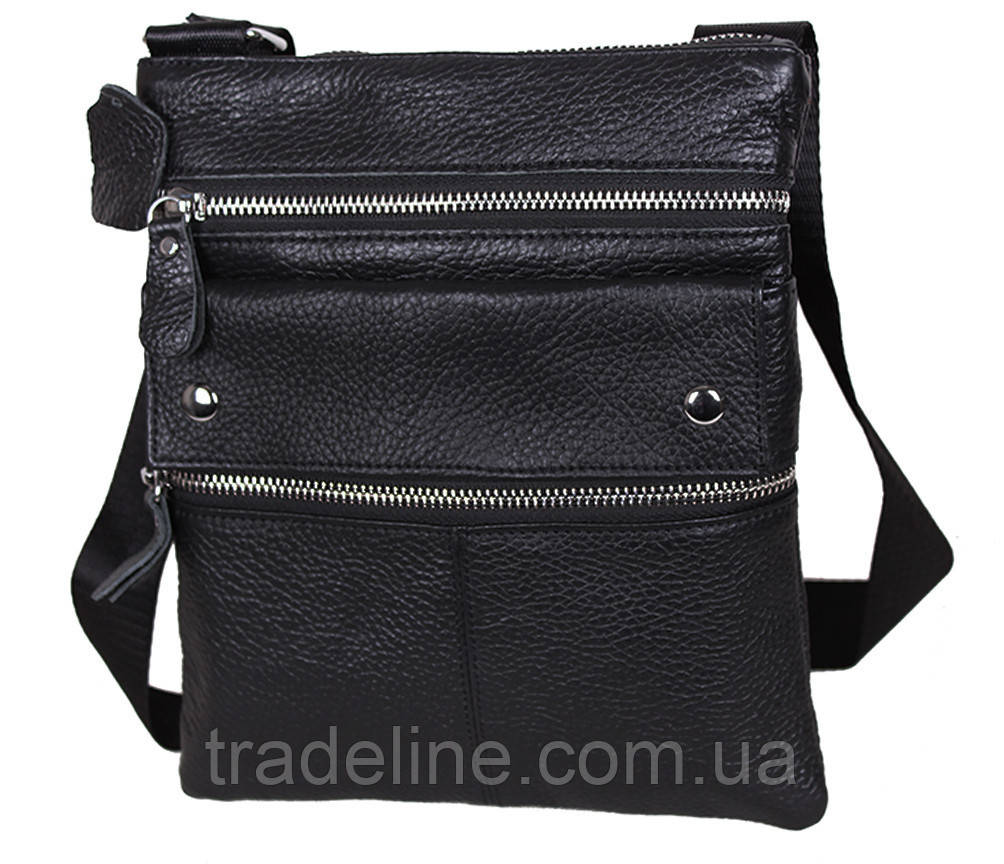 Мужская кожаная сумка Dovhani A302BL827 Черная