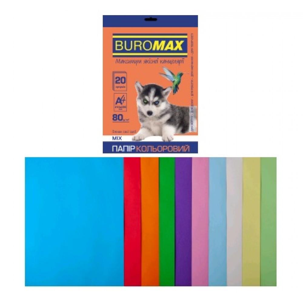 Набор цветной бумаги для печати 80г / м2, BUROMAX, PASTEL + INTENSIVE
