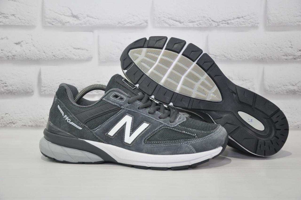 Серые мужские кроссовки текстиль и натуральный замш в стиле New Balance 990