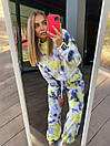 Женский повседневный плюшевый костюм - штаны и свитшот с ярким принтом (р. 40-54) 18kos134, фото 6