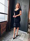 Женское черное бархатное платье миди с коротким рукаво (р. XS, S, M) 14plt1585, фото 2